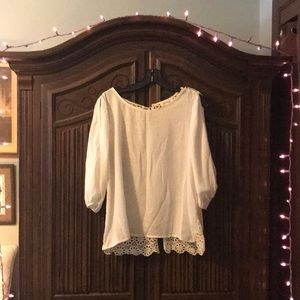 Sheer Cream Stunner Top w/ Button Embroidered Back